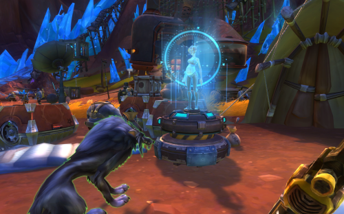 A blue glowing hologram of a pregnant woman, flanked by a sad wolf.